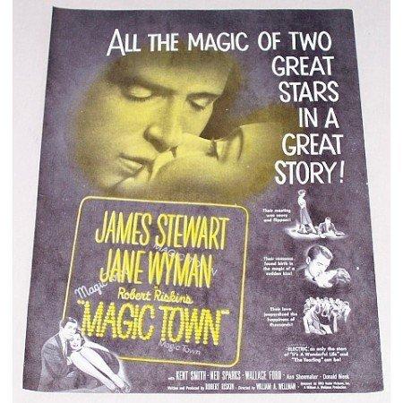 1947 Vintage Movie Ad MAGIC TOWN Celebrity James Stewart Jane Wyman