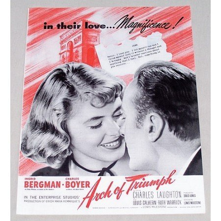 1947 Vintage Movie Ad ARCH OF TRIUMPH Celebrity Ingrid Bergman Charles Boyer