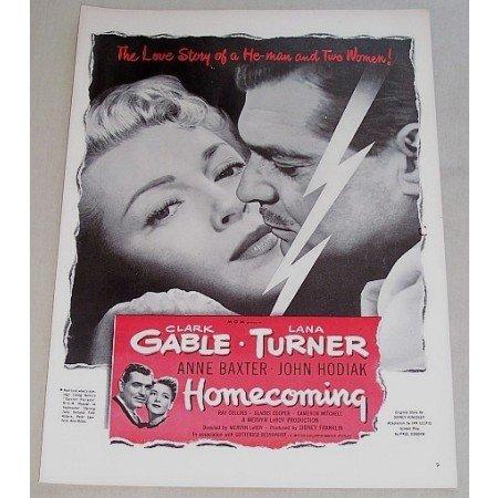 1948 Vintage Movie Ad HOMECOMING Celebrity Clark Gable Lana Turner