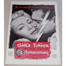 1948 Vintage Movie Ad HOMECOMING Celebrity Clark Gable Lana Turner