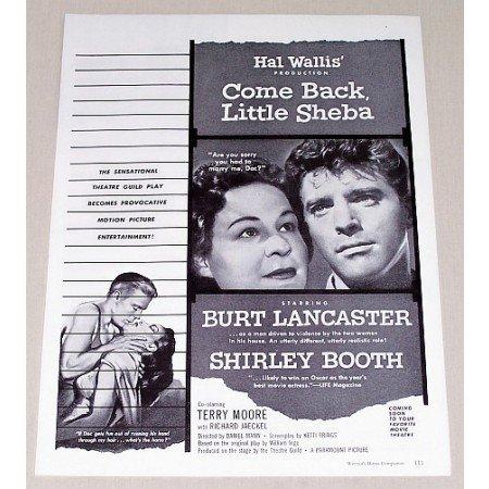 1953 Vintage Movie Ad COME BACK LITTLE SHEBA Celebrity Burt Lancaster