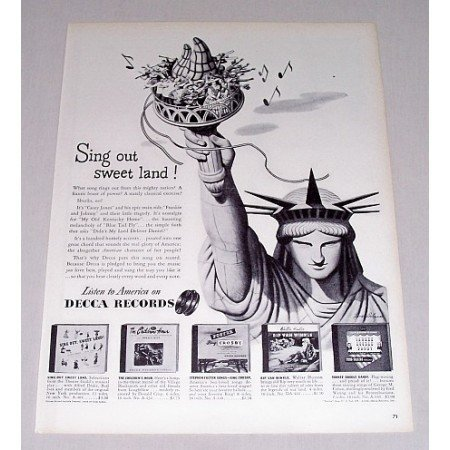 1946 Decca Records Vintage Print Ad - Sing Out Sweet Land Statue of Liberty
