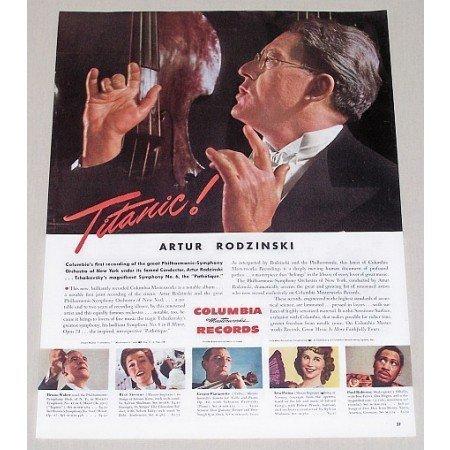 1945 Columbia Records Color Print Ad Celebrity Conductor Artur Rodzinski