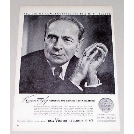 1946 RCA Victor Records Vintage Print Ad Celebrity Conductor Dr. Koussevitzky
