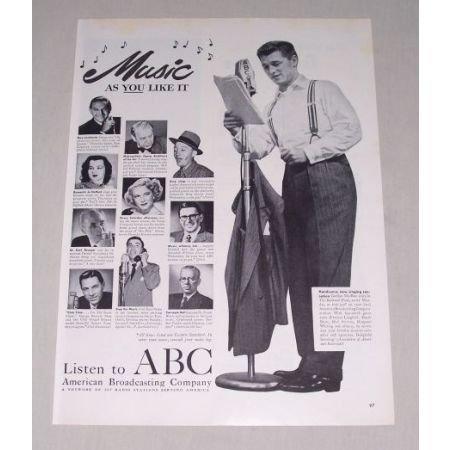 1949 American Broadcasting Co. Vintage Print Ad Celebrity G. MacRae