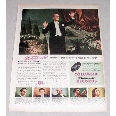1946 Columbia Records Color Print Ad Celebrity Conductor D. Mitropoulos