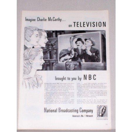 1944 NBC Network Vintage Print Ad Celebrity Charlie McCarthy