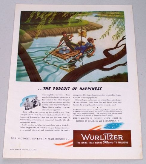 1943 Rudolph Wurlitzer Kids Playing Pirates Art Vintage Color Print Ad - The Pursuit Of Happiness
