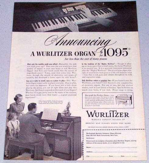 1949 Wurlitzer Organ Piano Musical Instument Vintage Print Ad