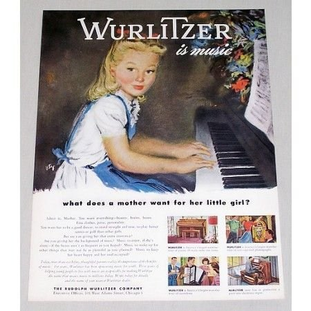 1946 Rudolph Wurlitzer Piano Girl Music Color Print Art Ad