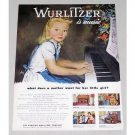 1946 Rudolph Wurlitzer Piano Girl Music Color Print Art Ad