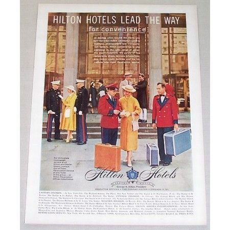 1956 Hilton Hotels Color Print Ad - Lead The Way