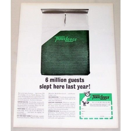 1965 TraveLodge Color Print Ad - 6 Million Guest Slept Here