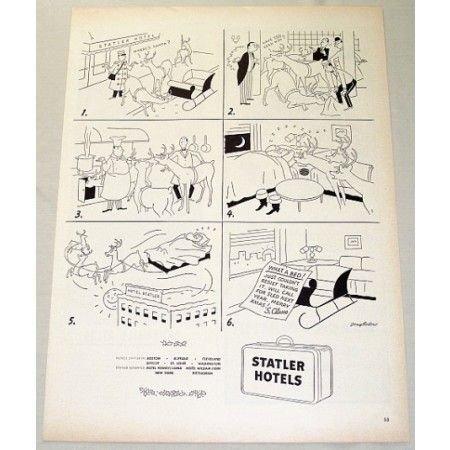 1948 Statler Hotels Christmas Vintage Sketch Art Print Ad