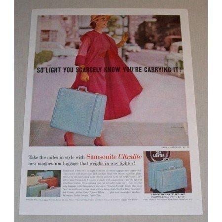 1957 Samsonite Ultralite Luggage Color Print Ad