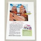 1955 Union Pacific Railroad Bryce Canyon Park Color Print Ad