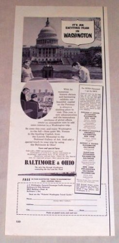 1953 Baltimore Ohio Railway White House Washington DC Vintage Print Ad