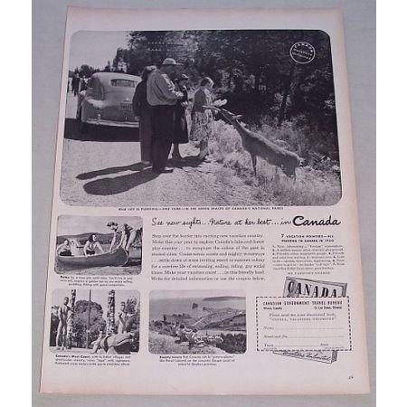 1950 Canadian Travel Bureau Vintage Print Ad See New Sights