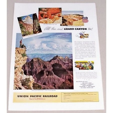1949 Union Pacific Railroad Grand Canyon Color Print Ad