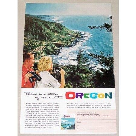 1961 Oregon Travel Cape Perpetua Color Print Ad