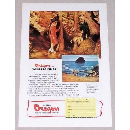1947 Oregon Travel Marble Halls Caves Vacation Color Print Ad