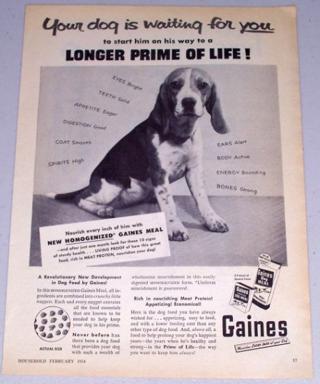 1954 Gaines Dog Meal Dog Food Vintage Print Ad
