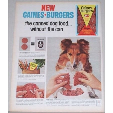 1963 General Foods Gaines Burgers Dog Food Color Print Ad