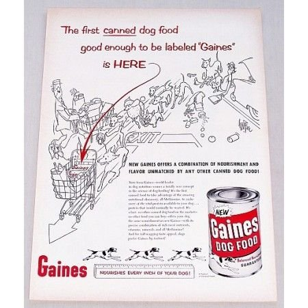 1956 Gaines Dog Food Vintage Sketch Art Print Ad - Nourishes Every Inch