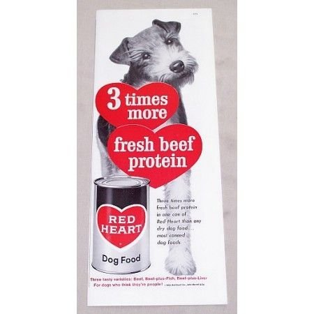 1960 Red Heart Dog Food Vintage Print Ad - Fresh Beef Protein
