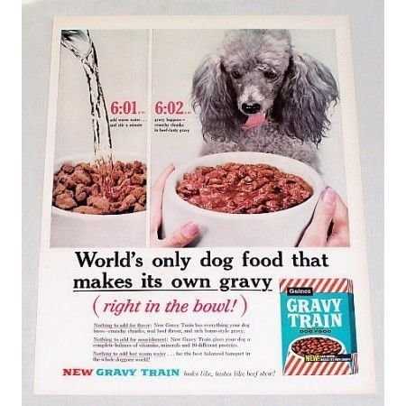 1960 Gravy Train Dog Food Poodle Color Print Ad