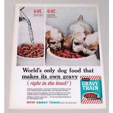 1960 Gaines Gravy Train Dog Food Color Vintage Print Ad