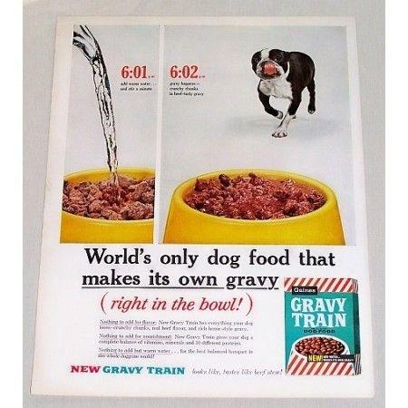 1960 Gravy Train Dog Food Bulldog Color Print Ad
