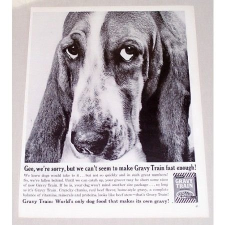 1960 Gaines Gravy Train Dog Food Basset Hound Vintage Print Ad