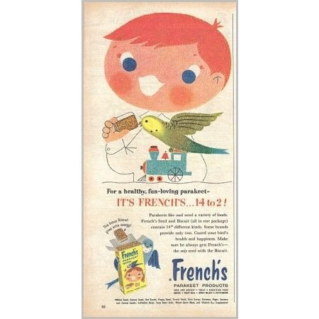 1959 French's Parakeet Bird Seed Color Print Art Ad