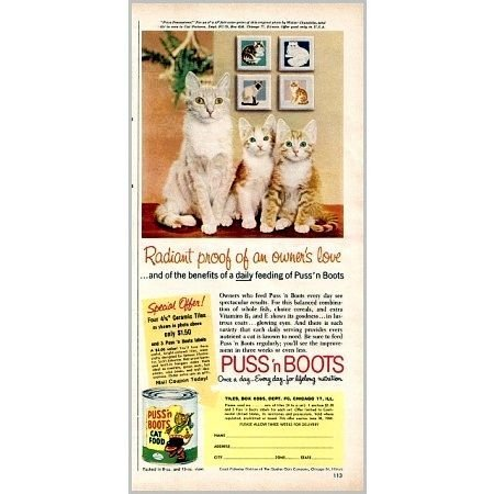 1959 Puss 'n Boots Cat Food Color Print Ad - Prize Possessions!