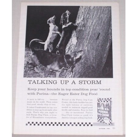 1961 Purina Dog Chow Vintage Print Ad - Talking Up A Storm