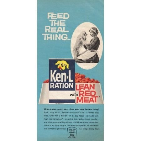1962 Ken-L-Ration Dog Food Color Print Ad - Feed The Real Thing