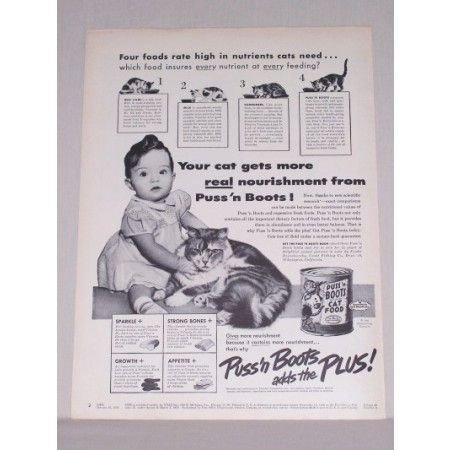 1950 Puss 'N Boots Cat Food Vintage Print Ad - Your Cats Get More