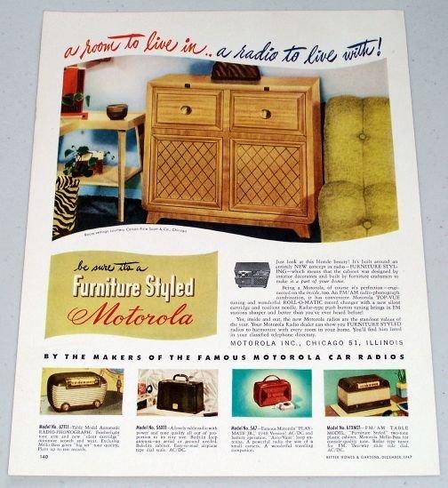 1947 Furniture Styled Motorola Radio Phonograph Vintage Color Print Ad