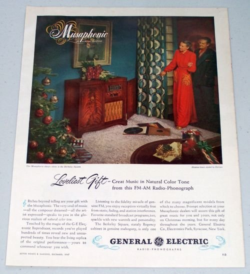 1947 GE General Electric Musaphonic Radio Phonograph Vintage Color Print Ad
