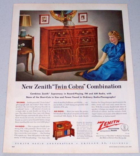 1949 Zenith Twin Cobra Combonation Radio Phonograph Unit Electronic Color Print Ad