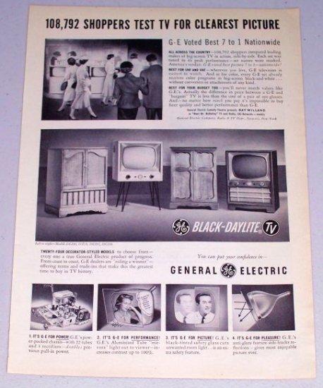 1954 General Electric GE Black Daylite TV Television Vintage Print Ad