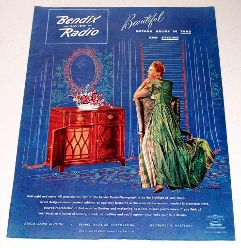 1945 Bendix Radio Phonograph Color Print Ad