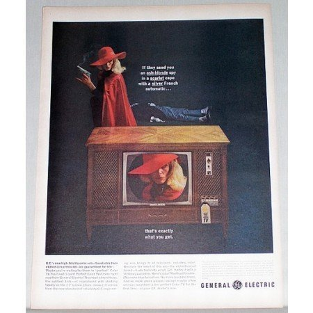 1963 General Electric High Fidelity 21 Console TV Color Print Ad