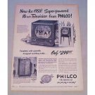 1950 Philco Super-Powered 16 Tabletop Television Vintage Print Ad