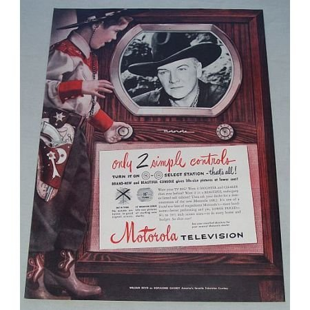 1950 Motorola Television Color Print Ad Western Celebrity Hopalong Cassidy