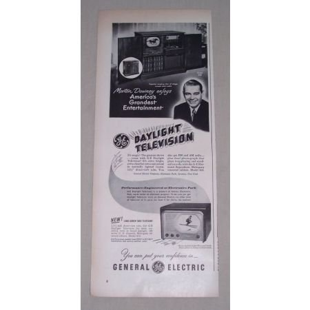 1949 GE General Electric 820 Television Ad Celebrity Morton Downey