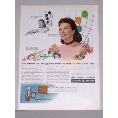 1944 GE General Electric FM Radio Color Ad Celebrity Ginny Sims