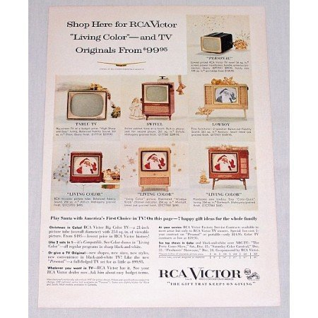 1956 RCA Victor Living Color Televisions Color Print Ad