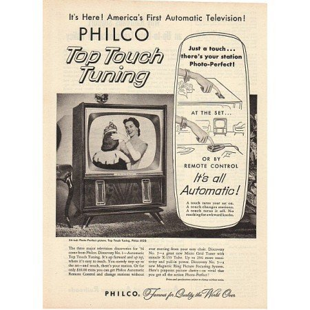 1955 Philco 6126 24in Television Vintage Print Ad - Top Touch Tuning